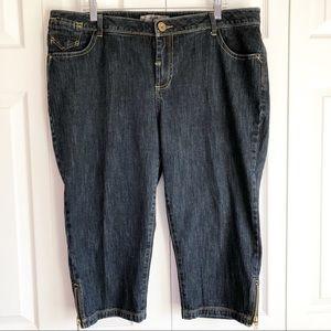 Tyte Jeans Dark Wash Blue Denim Capris w/ Zips 20